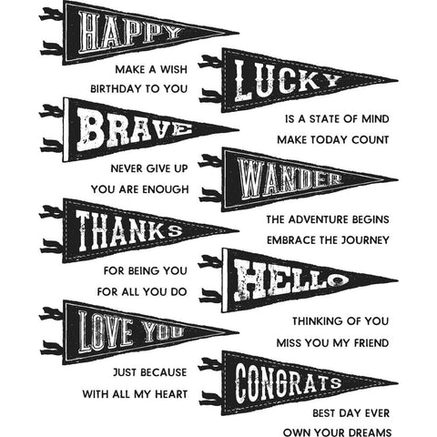 Tim Holtz Cling Stamps 7 inch X8.5 inch  Pennants