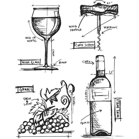 Tim Holtz Cling Stamps 7 inch X8.5 inch  Wine Blueprint