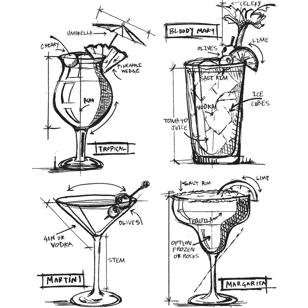 Tim Holtz Cling Stamps 7 inch X8.5 inch  Cocktails Blueprint