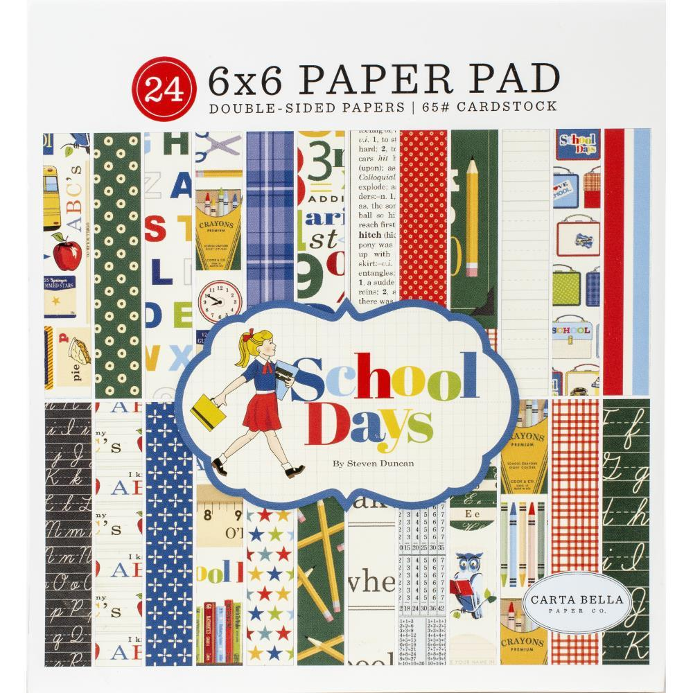 Carta Bella Double-Sided Paper Pad 6in X 6in 24 pack - School Days, 12 Designs/2 Each