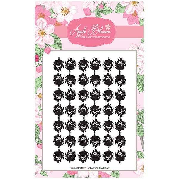 Apple Blossom Birds of a Feather Collection - Feather print A6 Embossing Folder