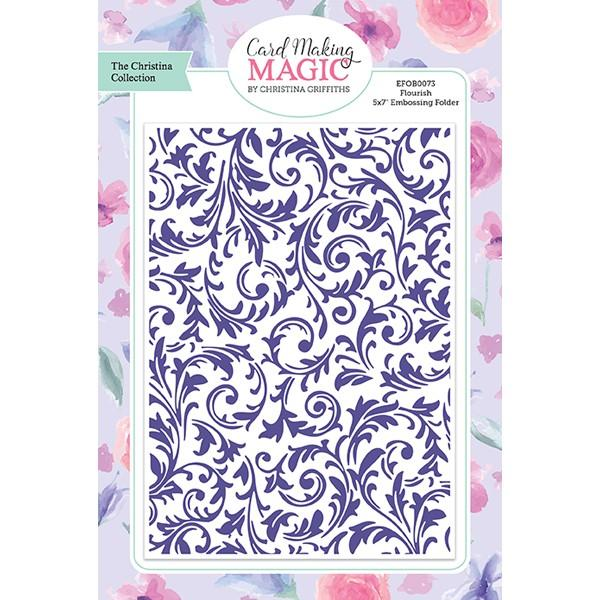 Craft Essentials - The Christine Griffith Card Making Magic Collection - Flourish 5 x 7 inch Embossing Folder