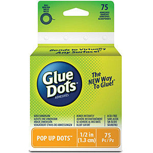 Glue Dots .5In. Pop Up Dot Roll 75 Clear Dots