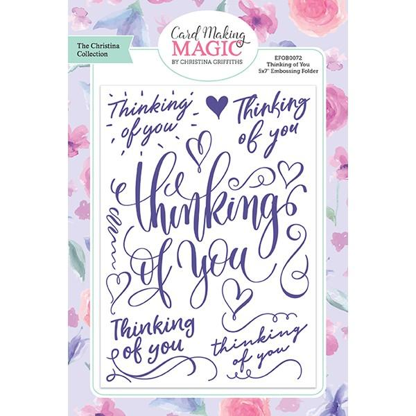 Craft Essentials - The Christine Griffith Card Making Magic Collection - Thinking of You 5 x 7 inch Embossing Folder