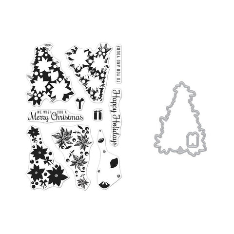 Hero Arts Clear Stamp & Die Combo Colour Layering Poinsettia Christmas Tree