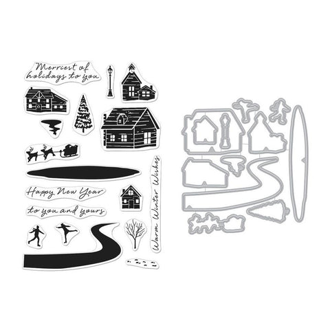 Hero Arts Clear Stamp & Die Combo - Snowy Town