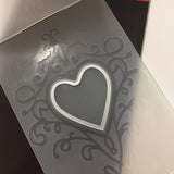 Poppy Crafts Emboss & Cut Embossing Folder - Love heart window with scrollwork design