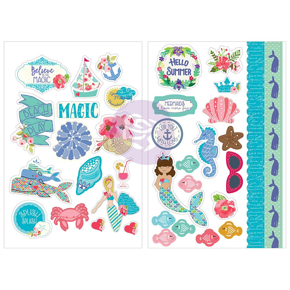 "Julie Nutting Cardstock Stickers 5""X7"" 2 pack Mermaid Kisses"