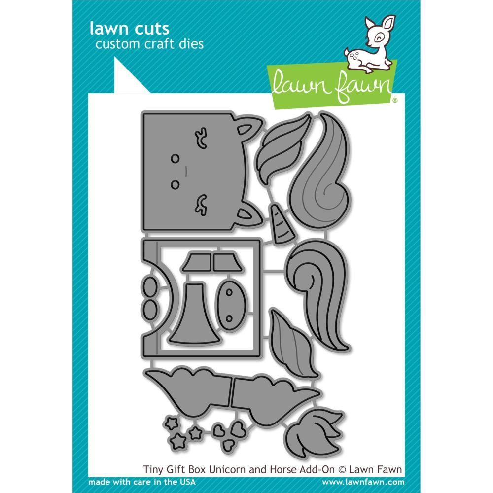 Lawn Cuts Custom Craft Die - Tiny Gift Box Unicorn & Horse Add-On