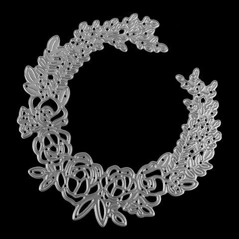 Poppy Crafts Dies - Floral Laurel Wreath #4 Die Design