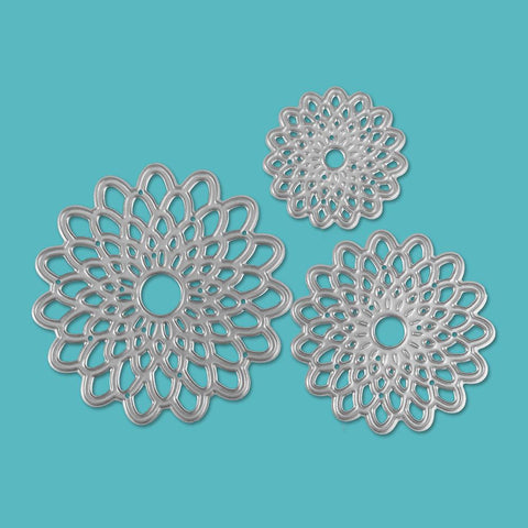 Poppy Crafts Dies - Geometric Flower Die Designs #3 - Set of 3