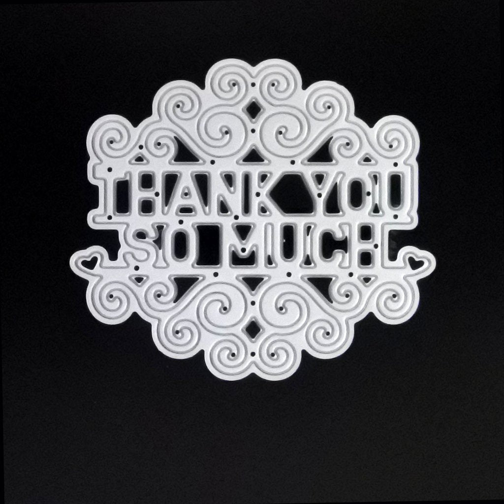 Poppy Crafts Dies - Thank You So Much Script with Scrollwork Die