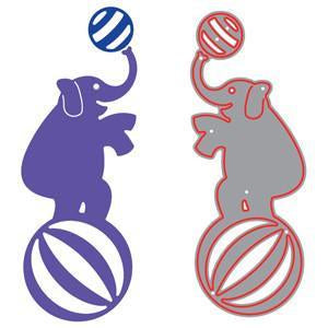 Poppycrafts Dies - Circus Elephant With Ball Die Design