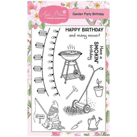 Apple Blossom A6 Stamp Set - Garden Party Birthday - Set of 11 Stamps
