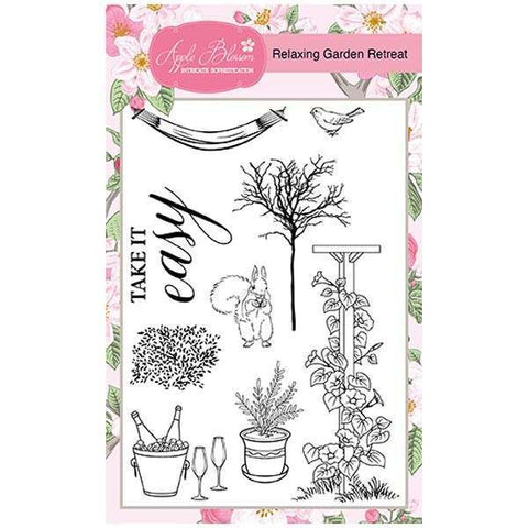 Apple Blossom A6 Stamp Set - Relaxing Garden Retreat - Set of 9 Stamps