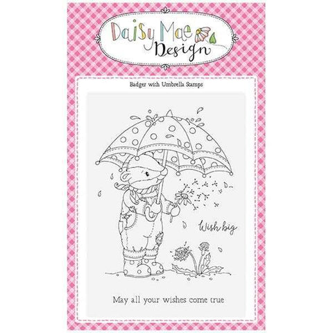 Daisy Mae Designs A6 Stamp Set - Badger with Umbrella - Set of 3 Stamps
