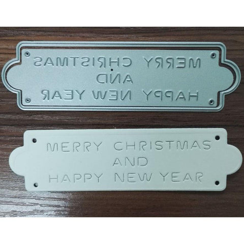 Poppy Crafts Dies - Merry Christmas and a Happy New Year Label Die Design