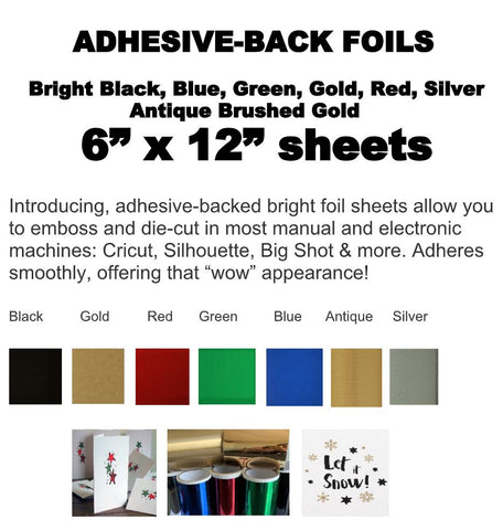 "Stickmaster - 5 color assortment of adhesive foil 6"" x 12"" / 5 sheets"