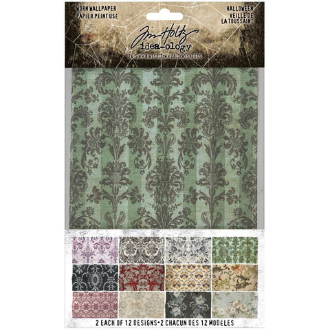 Tim Holtz - Idea-Ology Worn Wallpaper 5in x 8in  24 pack  - Halloween, 12 Designs/2 Each