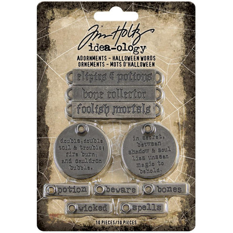 Idea-Ology Metal Adornments 10 pack  Antique Silver Halloween Words