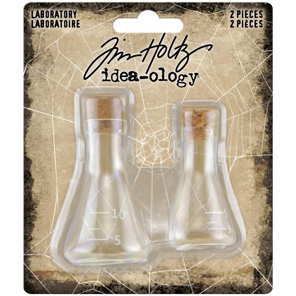 Tim Holtz - Idea-Ology Small Corked Glass Flasks 2 pack - Laboratory 2in  To 2.375in