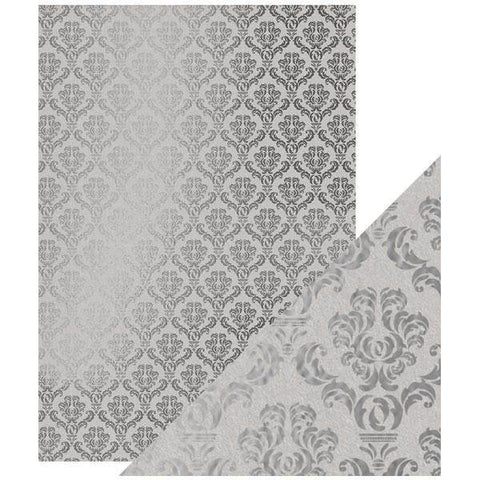 Tonic Studios - Craft Perfect Foiled Kraft Card A4 - Silver Damask (5/PK)