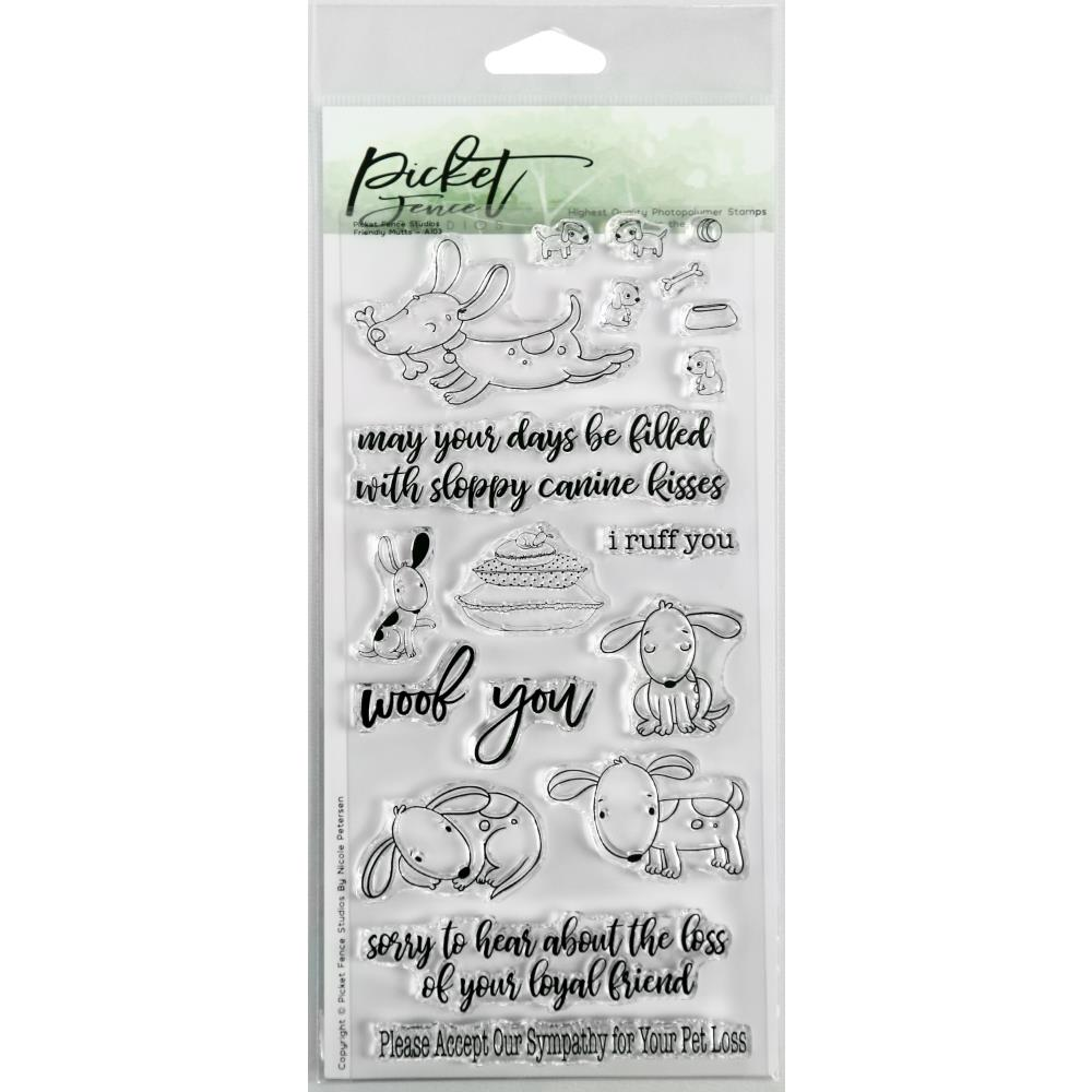 Picket Fence Studios 4X8 Stamp Set Friendly Mutts