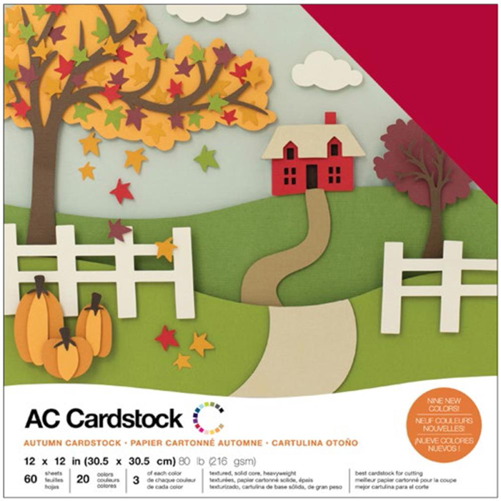 American Crafts Variety Cardstock Pack 12X12 60/Pkg - Autumn