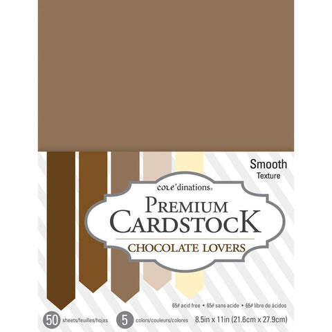 Coredinations Value Pack Smooth Cardstock 8.5 inch X11 inch 50 pack - Chocolate Lovers