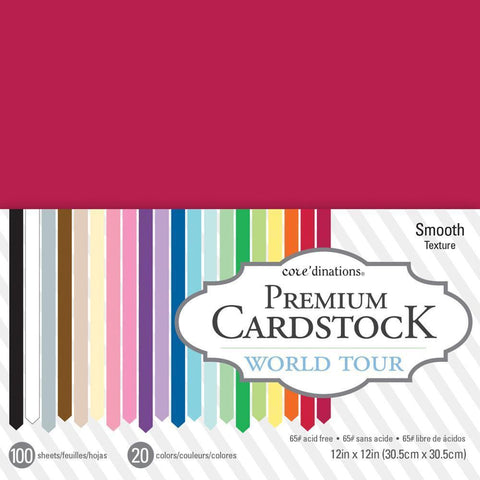 Coredinations Value Pack Smooth Cardstock 12X12 inch - World Tour - 100 pages