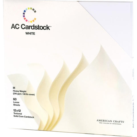 American Crafts Textured Cardstock Pack 12X12 60/Pkg Solid White