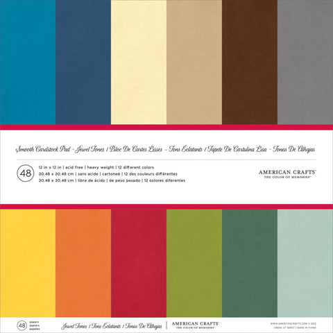 American Crafts Smooth Cardstock Pack 12X12 48/Pkg Jewel Tones