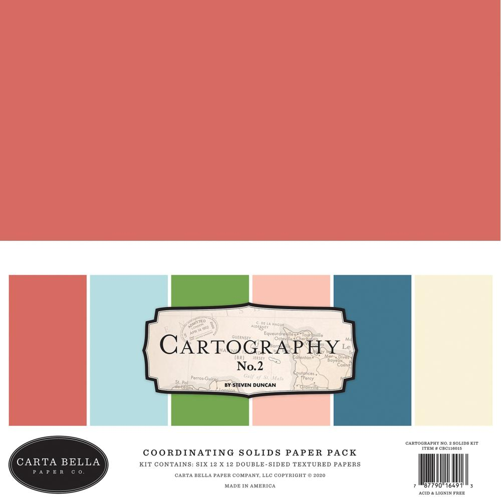 Carta Bella Double-Sided Solid Cardstock 12X12 6/Pkg Cartography No. 2, 6 Colors
