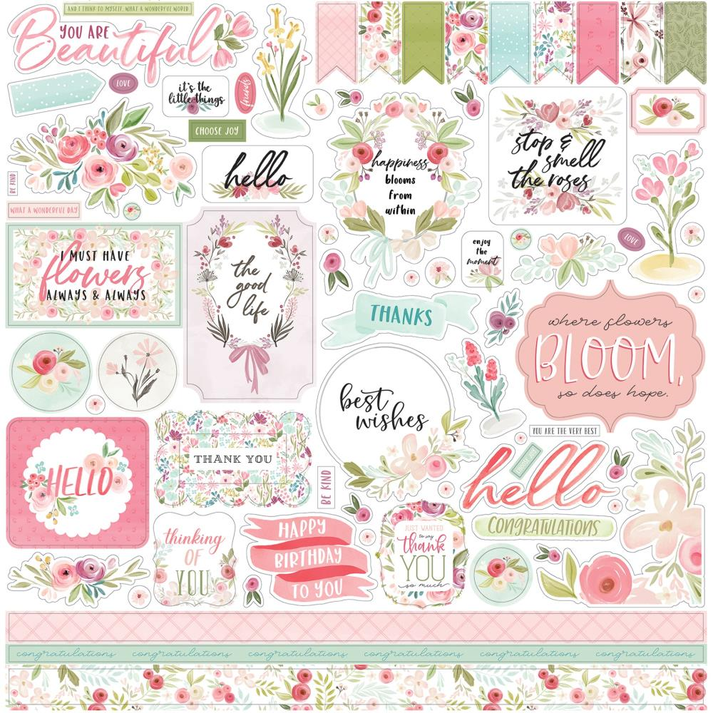 Carta Bella Flora No. 3 Cardstock Stickers 12in X12in - Elements