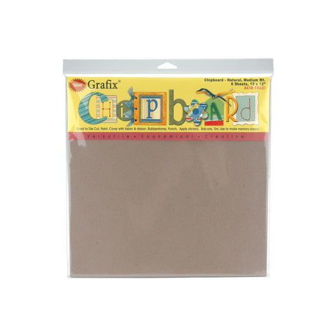 Grafix Medium Weight Chipboard Sheets 12X12 6 pack Natural