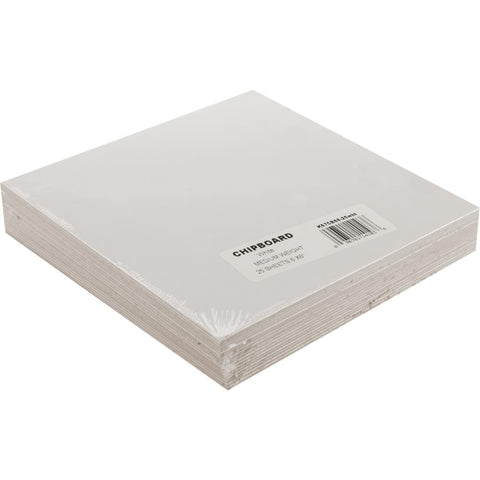 Grafix Medium Weight Chipboard Sheets 6X6 25 pack White