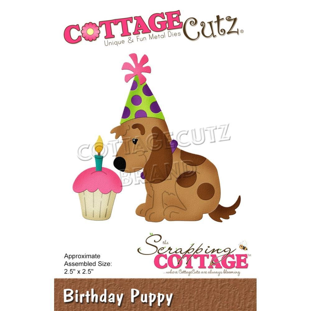 CottageCutz Dies - Birthday Puppy, 2.5 inchX2.5 inch