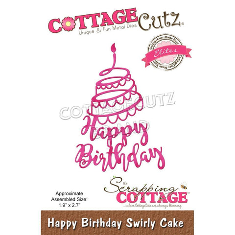 CottageCutz Elites Die - Happy Birthday Swirly Cake, 1.9 inchX2.7 inch