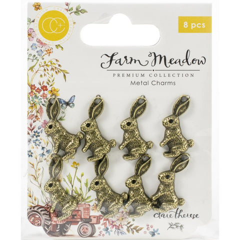 Craft Consortium Farm Meadow Metal Charms 8/Pkg Rabbits By Clare Therese Gray