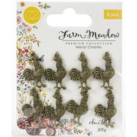 Craft Consortium Farm Meadow Metal Charms 8/Pkg Rooster By Clare Therese Gray