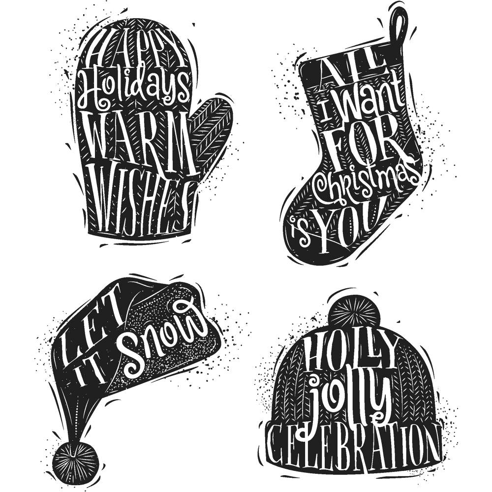 Tim Holtz Cling Stamps 7 inch X8.5 inch Carved Christmas #1