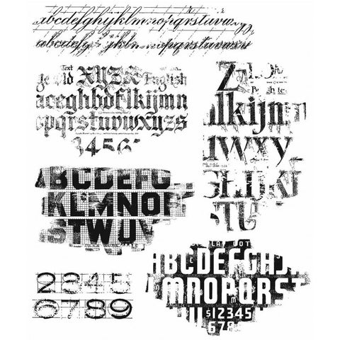 Tim Holtz Cling Stamps 7X8.5 - Faded Type