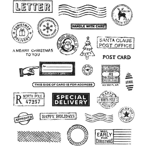 Tim Holtz Cling Stamps 7 inch X8.5 inch Holiday Postmarks