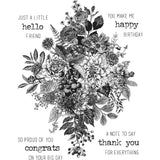 Tim Holtz Cling Stamps 7X8.5 Glorious Bouquet W/Grid Block