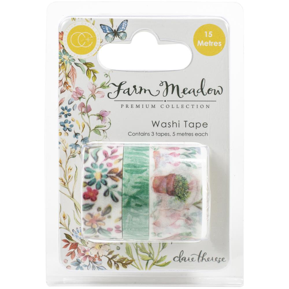 Craft Consortium Washi Tape 3/Pkg Farm Meadow By Clare Therese Gray