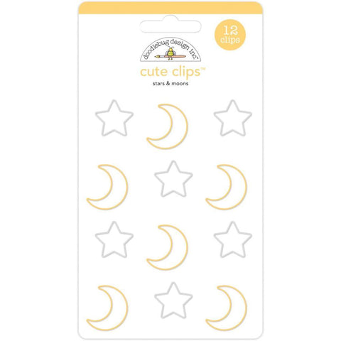Doodlebug - Cute Clips 12 pack Stars & Moons - Candy Carnival