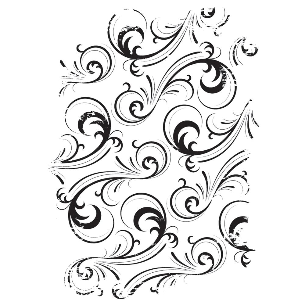 Darkroom Door Texture Cling Stamp 3 inch X2 inch Swirls