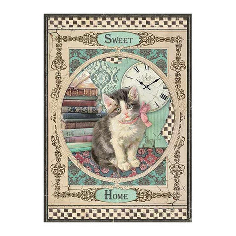 Stamperia-A4 Decoupage Rice Paper-Sweet Home Cat