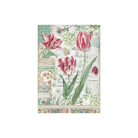 Stamperia-A4 Decoupage Rice Paper-Red Tulip