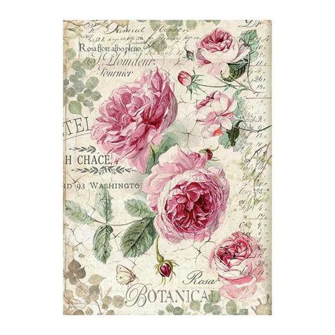 Stamperia-A4 Decoupage Rice Paper-Botanic English Roses